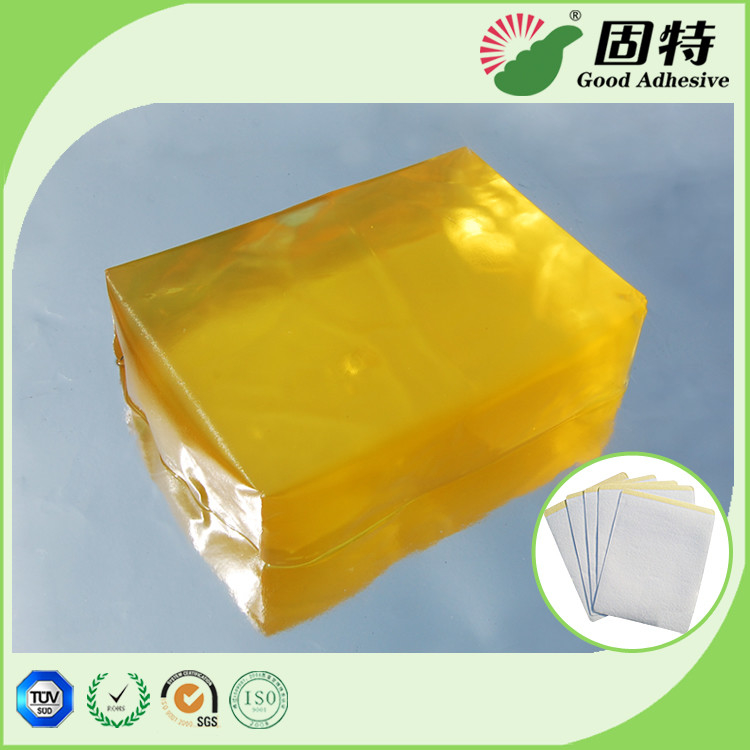 Yellow transparent Block Strength Hot Glue , Medical Plaster Hot Melt Glue