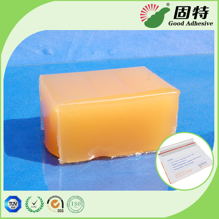 Yellow and semi-transparent Block PSA Hot Melt Glue Adhesive For Packaging Mail Bag Sealing,Express Envelope bag sealing